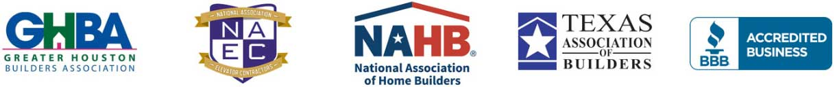 association logos representing that home elevator of houston is a member of the greater houston builders association, national association of elevator contractors, national association of home builders, texas association of builders, and the better business bureau in houston texas